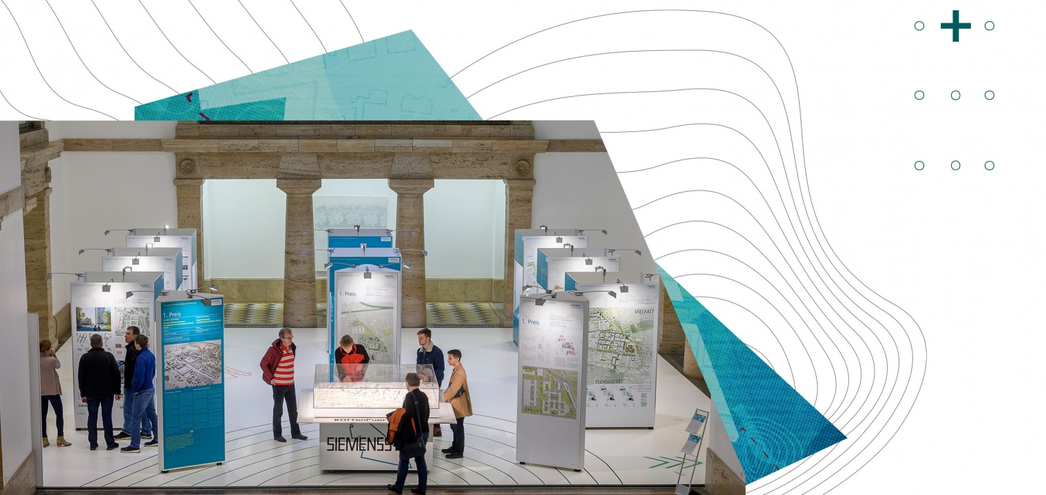 View of the Mosaikhalle in Berlin and the exhibition on the urban planning competition of Siemensstadt 2.0