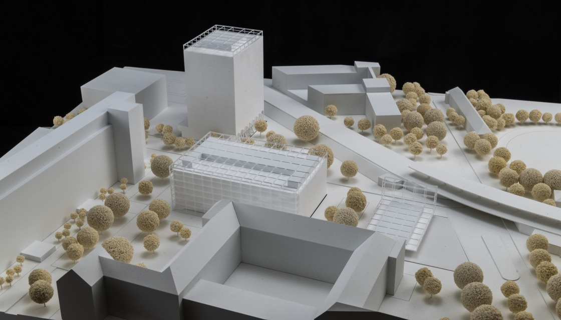 Model view of the new entrance area towards the station from the winning design by ROBERTNEUN Architekten