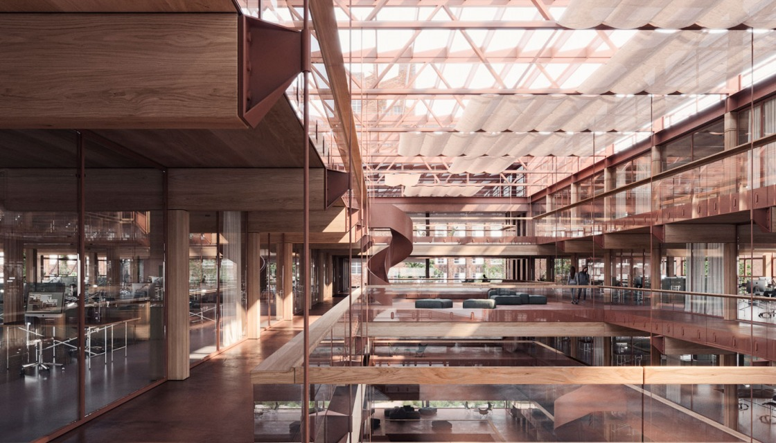 Inside view of the court building from the winning design by ROBERTNEUN Architekten